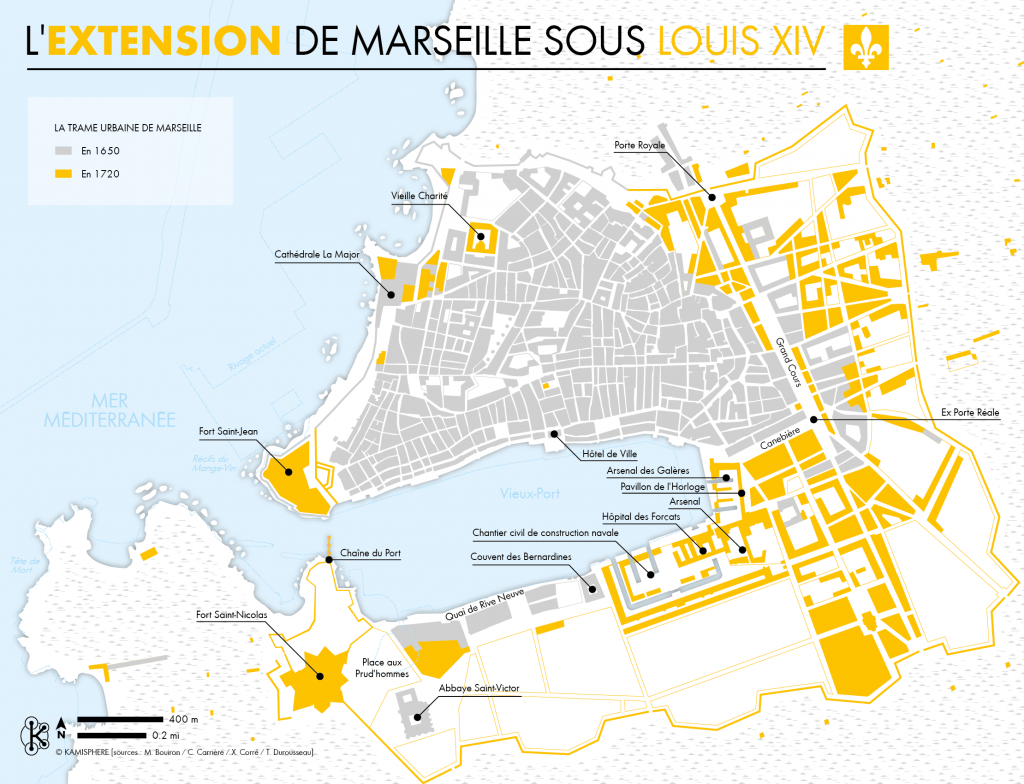 Cartographie de l'extension de Marseille sous Louis XIV